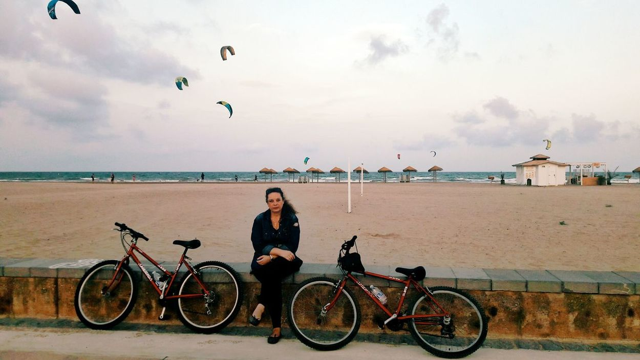 Bicycle Only Women Flying Person Transportation Cycling Outdoors People Beach Adult Horizontal Togetherness Real People One Woman Only Sky Day Mom ❤ Mymodel