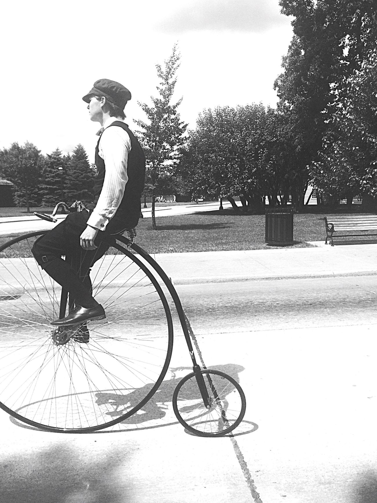 1913 Old Bicycle Black And White Green Field Villag Michigan
