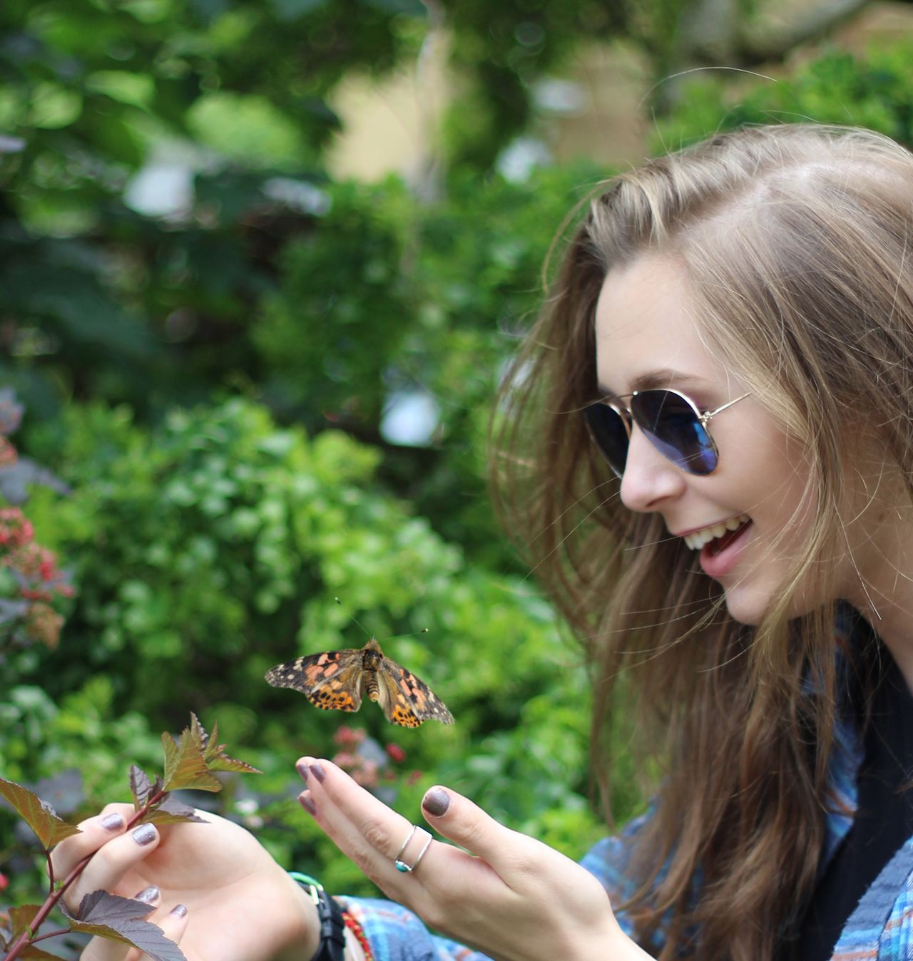 Butterfly Teenage Girls Nature Teenager Nature Long Hair Beautiful People Young Adult Blond Hair Beauty Headshot Sunglasses Portrait Young Women One Person Females People Insect Painted Lady Creature Care Kindness Fragility Delicate