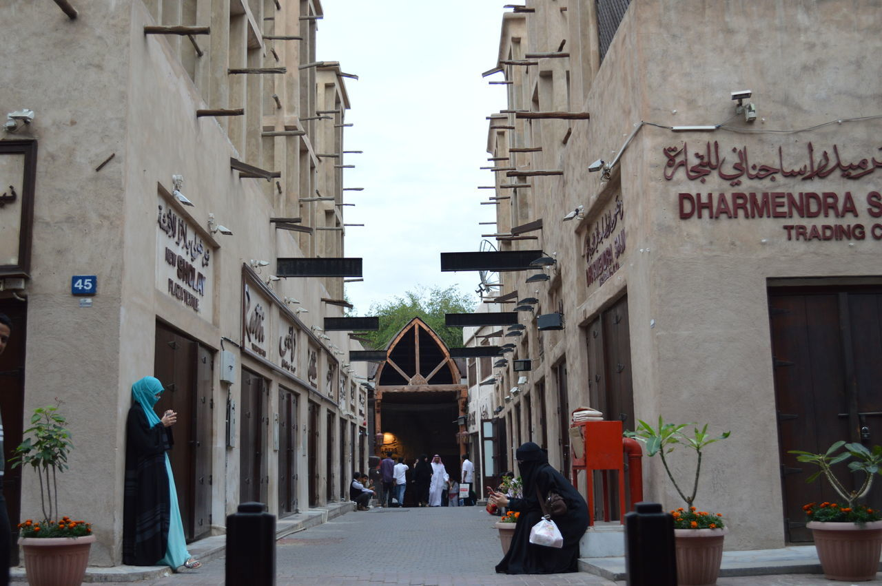 Built Structure Architecture Oldsouks Building Story Dubai Creek Person Building Exterior
