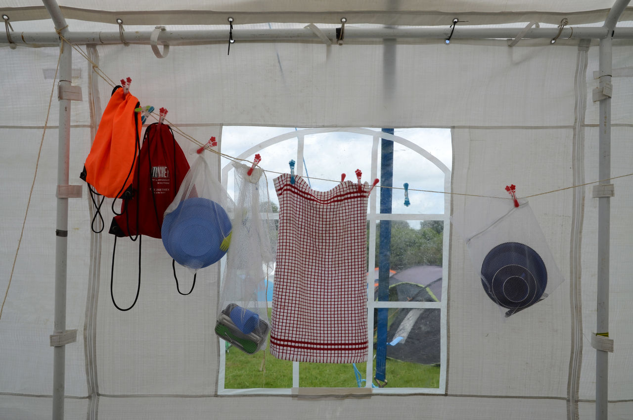 Camp Site Clothesline Day Drying Drying Up Hanging Indoors  Window