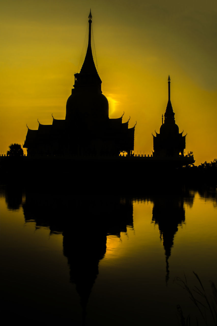 sunset, architecture, silhouette, reflection, built structure, religion, place of worship, building exterior, spirituality, pagoda, sky, travel destinations, orange color, history, ancient, water, lake, outdoors, no people, nature, beauty in nature