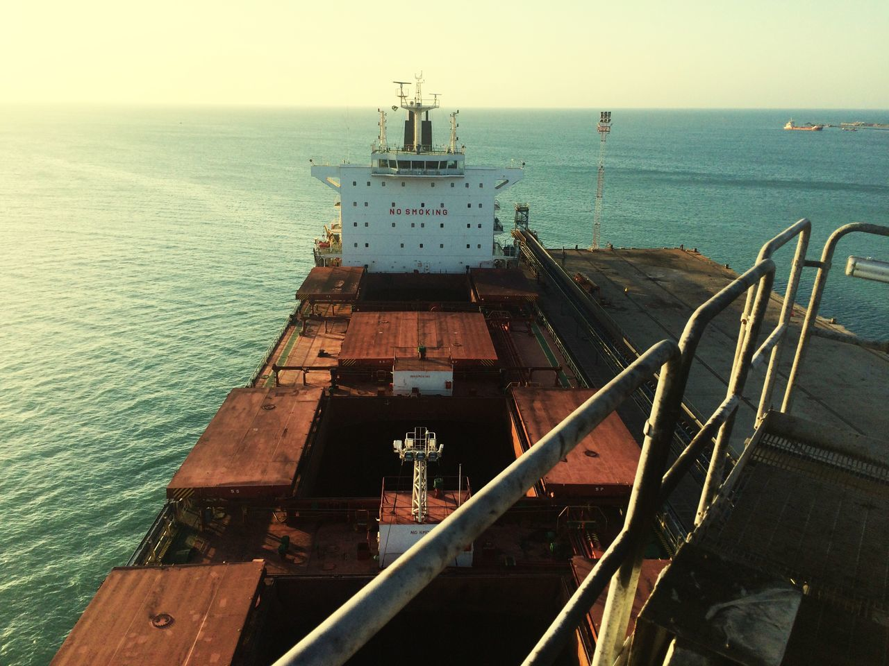Ship Panamax Vessel Nautical Vessel Ocean Horizon Blue Bulk Carrier Hatch Coal Freight Transport