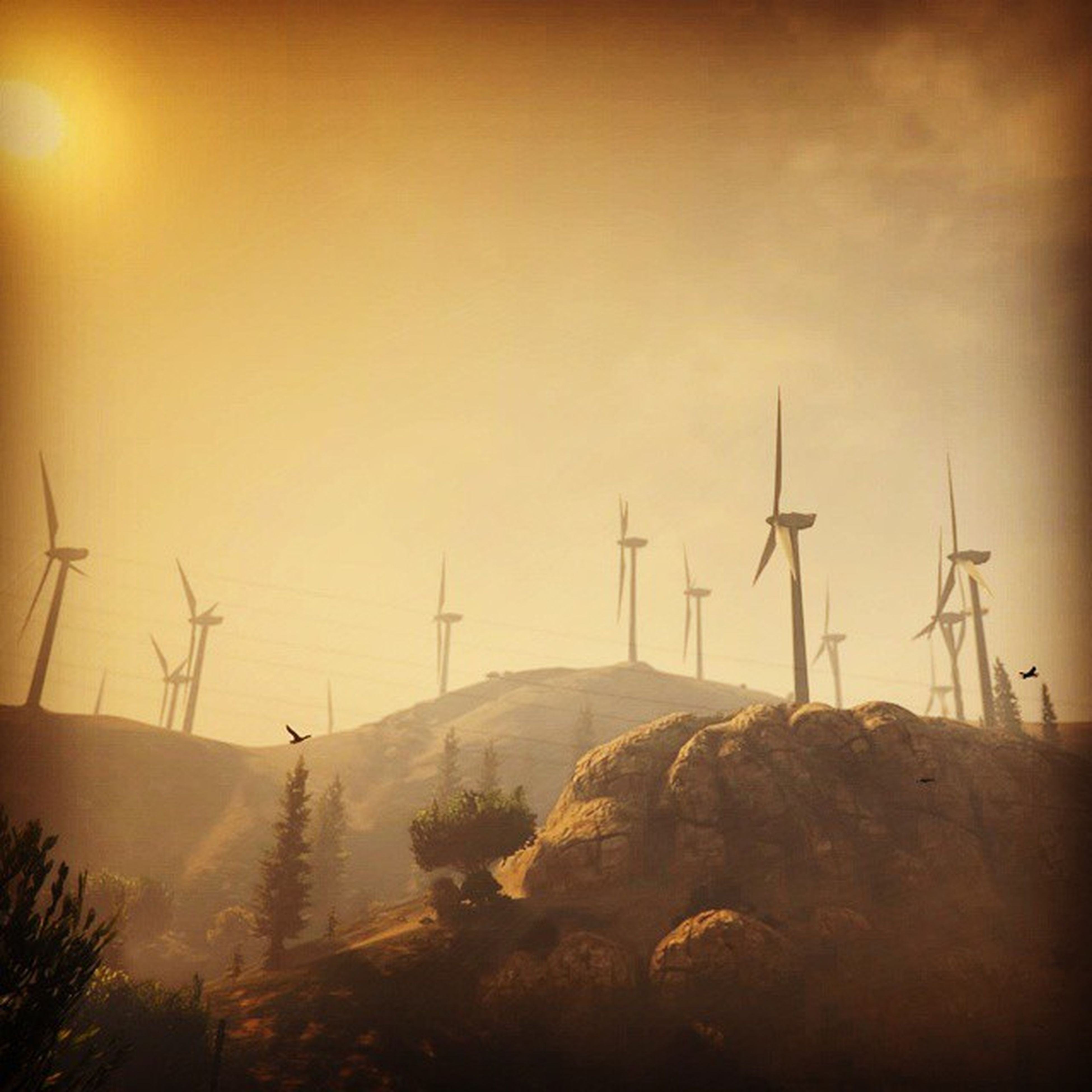 wind turbine, wind power, alternative energy, renewable energy, environmental conservation, fuel and power generation, windmill, landscape, tranquility, technology, tranquil scene, traditional windmill, nature, scenics, mountain, copy space, clear sky, non-urban scene, field, beauty in nature