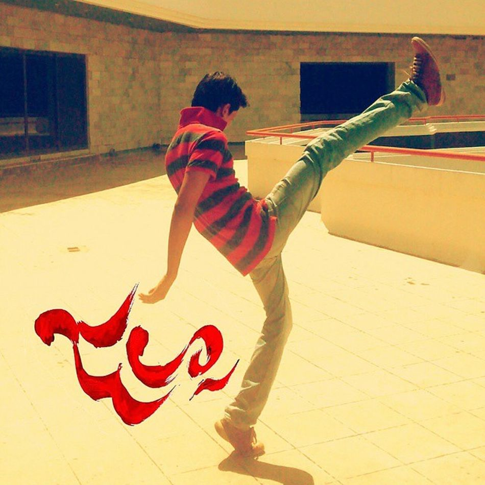 Always had a wish to pose like this from that Jalsa poster, and finally did it this way! Jalsa Kick Upward & Onward Yolo Red Yellow Stunt Pspk