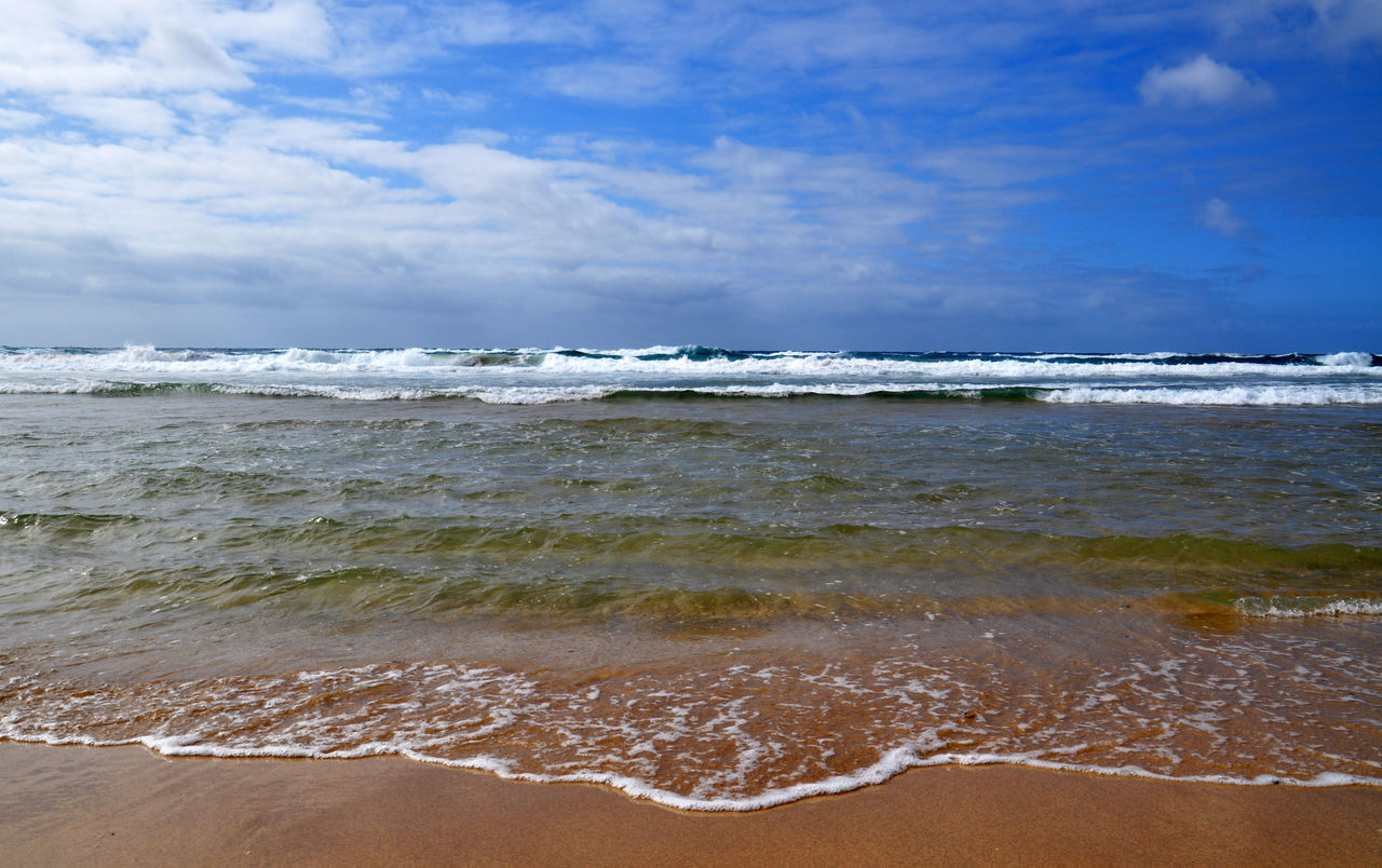 sea, beach, wave, horizon over water, sky, shore, surf, sand, nature, beauty in nature, cloud - sky, scenics, water, tranquility, outdoors, day, no people, tranquil scene
