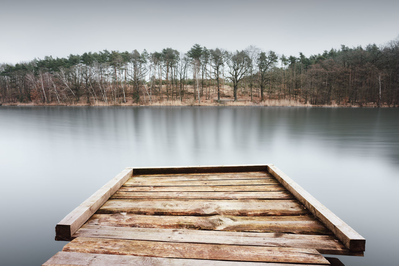 scenic view of lake by trees Brandenburg Copy Space Daytime Havelland Havelland Germany Landscape Long Exposure Muted Colors Nature Photography Outdoor Philipp Dase Pier Scenic View Serene Tranquil Scene Tranquillity Tree Trees Water Wood Paneling
