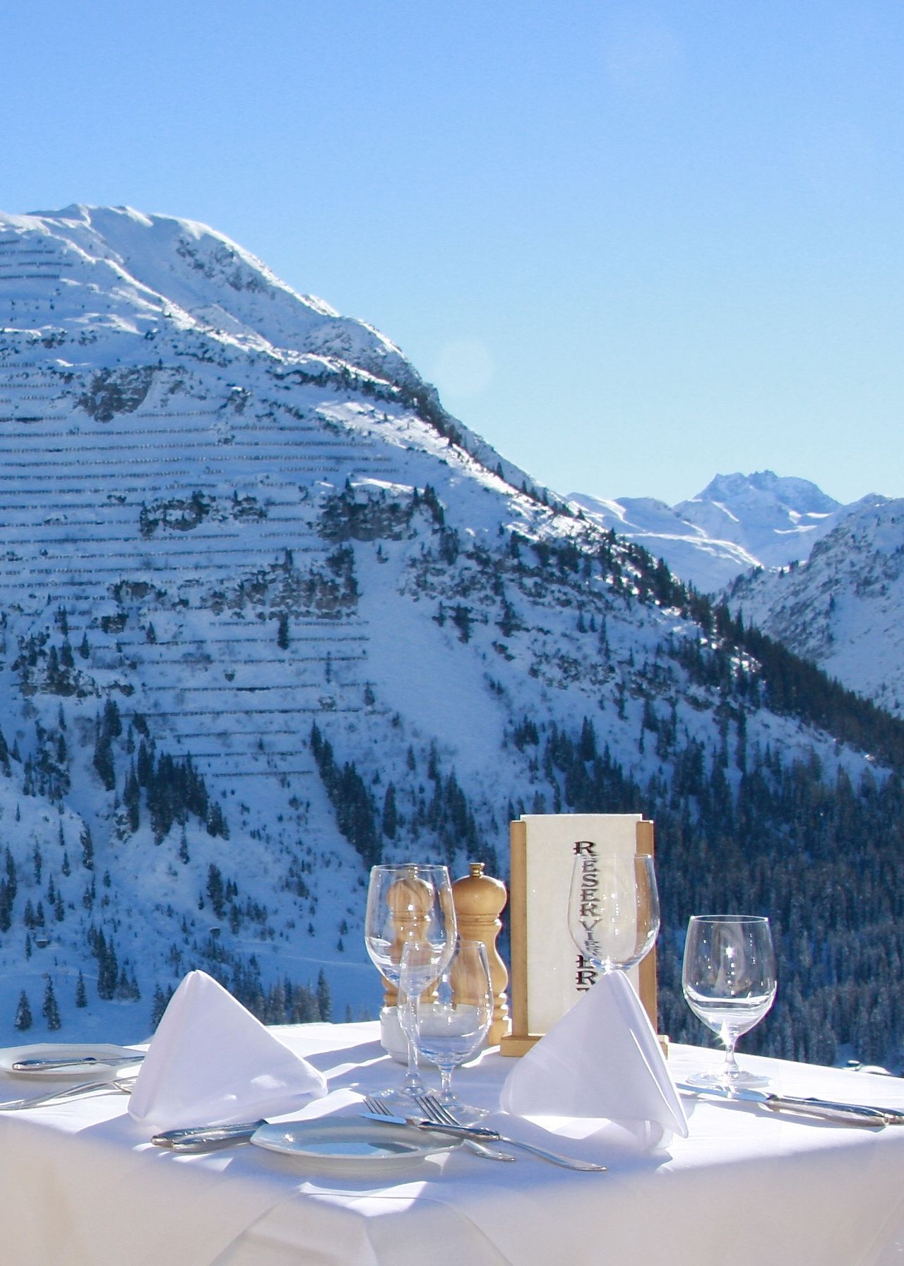Alps Amazing View Arlberg Austria Beauty In Nature Christmastime Enjoying A Meal Exceptional Photographs EyeEm Best Shots Food And Drink Lunch Time! Oberlech Outdoors Restaurant Scenic View Sky Snow Table Take Your Place Wineandmore Wineglass Winter Wine Moments