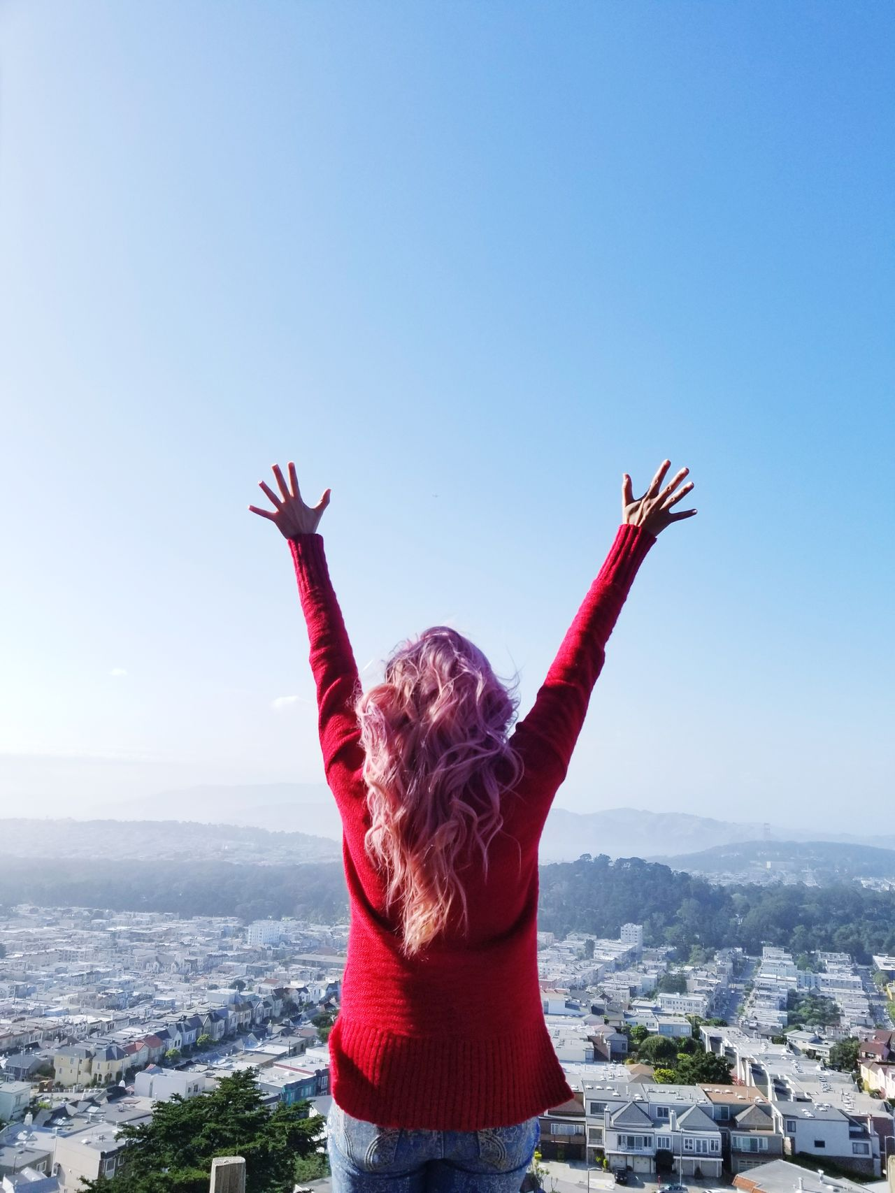 One Woman Only One Young Woman Only Cityscape Adult One Person Outdoors Happiness Day Sky Architecture Built Structure Rear View City Urban Skyline Cloud - Sky Travel Destinations Red San Francisco EyeEmNewHere