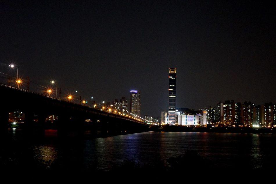 Jamsil Railway Bridge Han River Night View