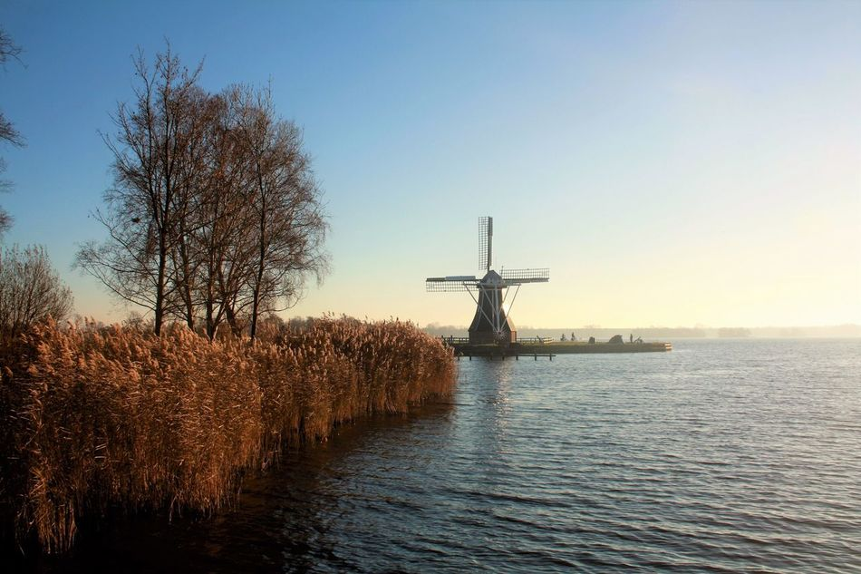 Paterswoldsemeer Groningen The Netherlands Lake Windmill Molen Clear Sky Autumn Holland Outdoors Water Nature Sky