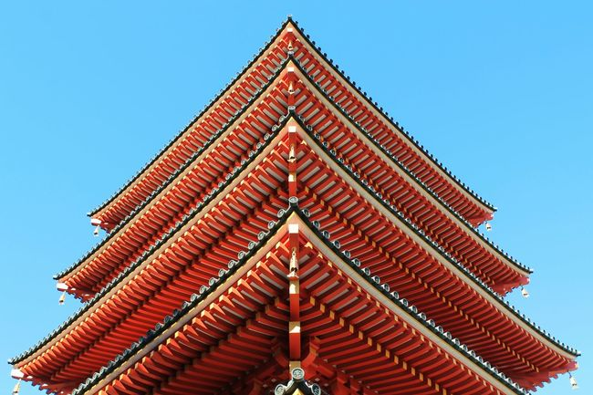 Architecture Buddhism Buddhist Temple Building Exterior Built Structure Culture Five-storied Pagoda Five-story Pagoda Japan Low Angle View No People Pagoda Red Religion Roof Rooftop Tokyo Wood Wooden