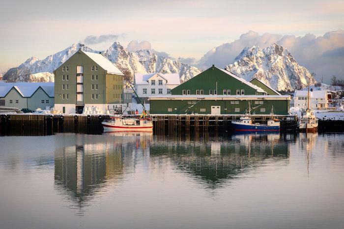 Architecture Bay Boat Lofoten Lofoten Islands Mountain No People North Norway Norwegian Outdoors Scenics Sea Snow Water Waterfront Winter