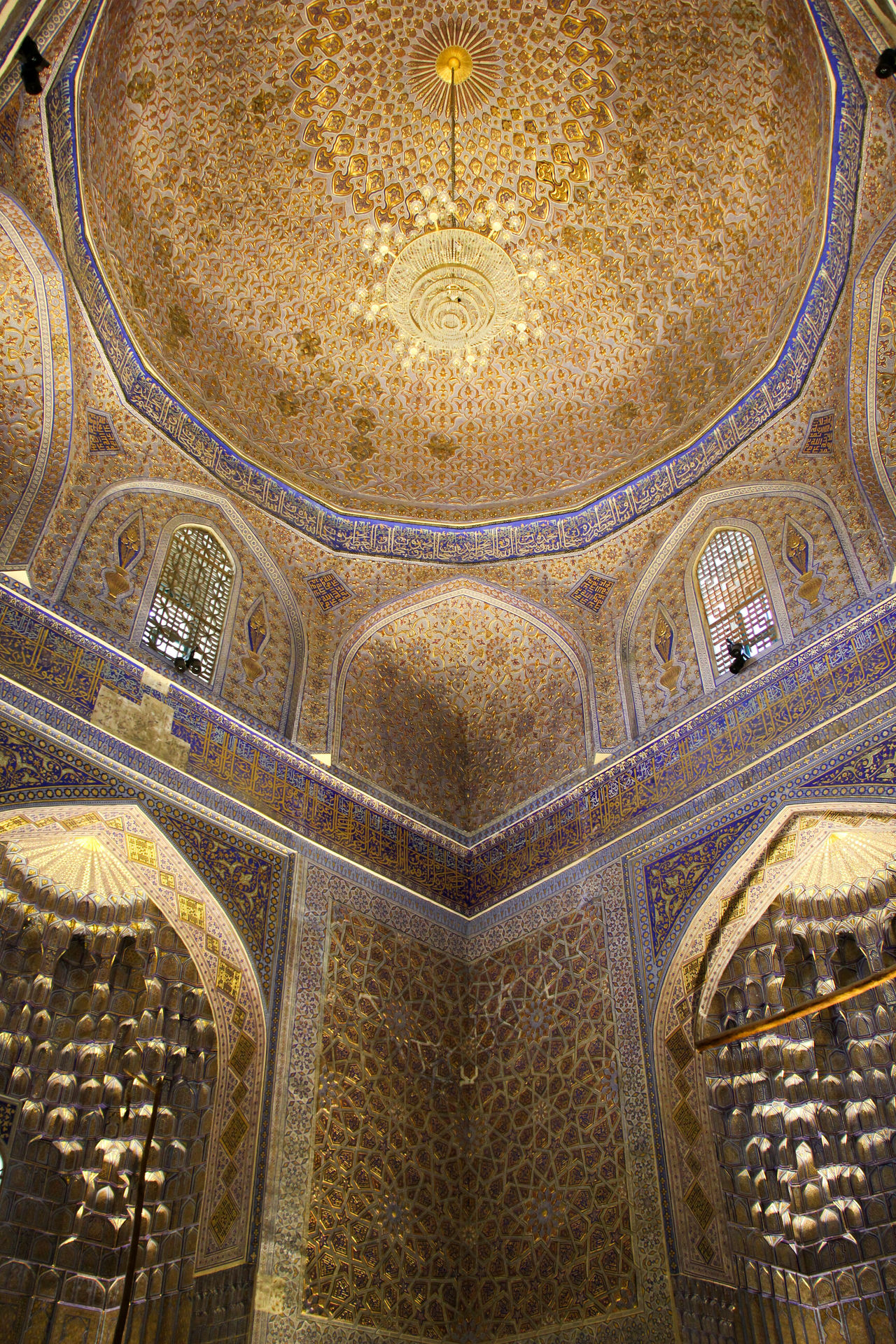 Architecture Built Structure Ceiling Cupola Day Dome Fresco Gold Colored History Illuminated Indoors  Islamic Architecture Islamic Art Looking Up Low Angle View Mausoleum No People Pattern Religion Samarkand Samarqand Silk Road Travel Destinations Uzbekistan