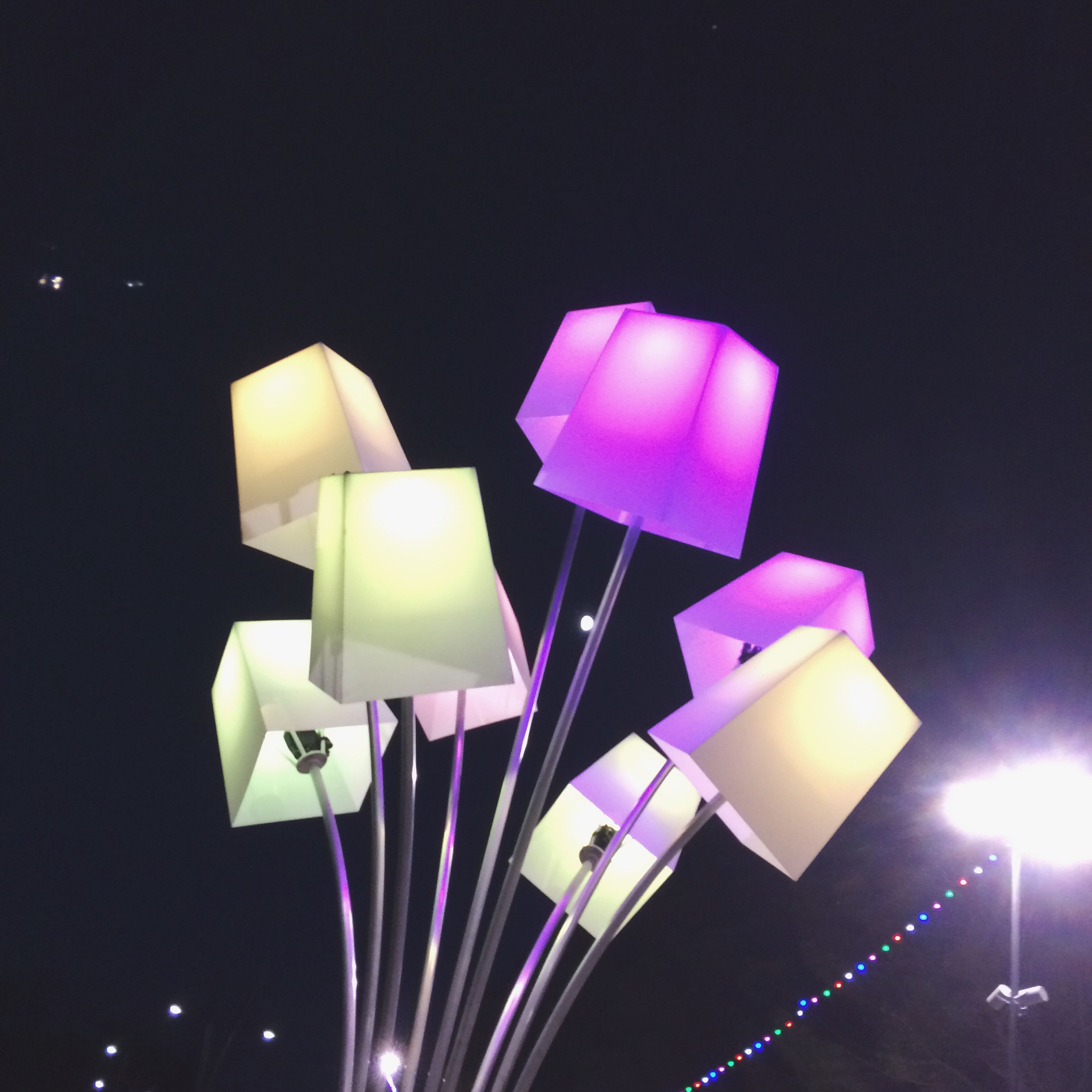 illuminated, multi colored, in a row, ideas, decoration, dark, colorful, group of objects, large group of objects, medium group of objects, geometric shape, creativity, architectural feature, no people, tranquil scene, majestic