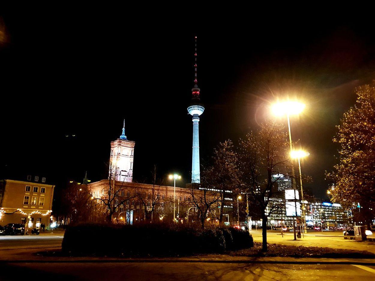 Night Illuminated Architecture No People Outdoors Sky Building Exterior City Tower Tvtower Berlinatnight Cityscape Urban Skyline