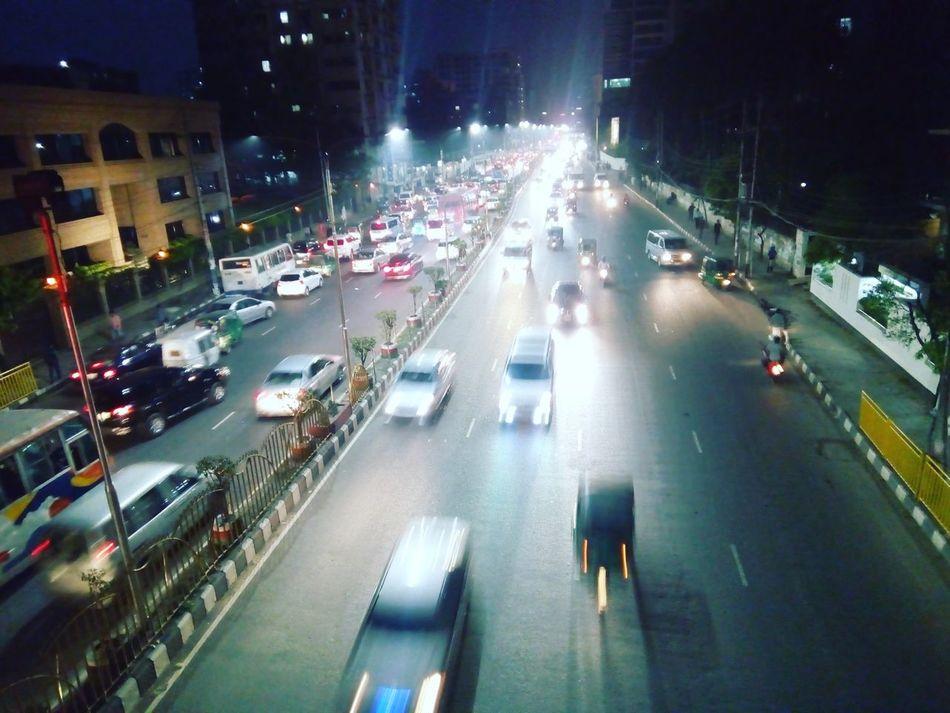Dhaka Nightphotography Roadway Footoverbridge Streetlights Night View
