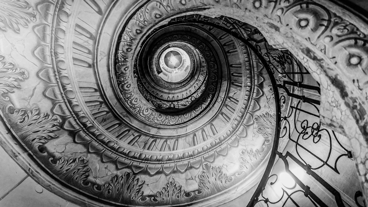 Architecture Black & White Black And White Bradley Olson Bradleywarren Photography Coil Concentric Design Indoors  Light Light And Shadow Looking Down Looking Up Monochrome No People Railing Railings Spiral Spiral Staircase Spiral Stairs Staircase Stairs Stairway Stairways Steps