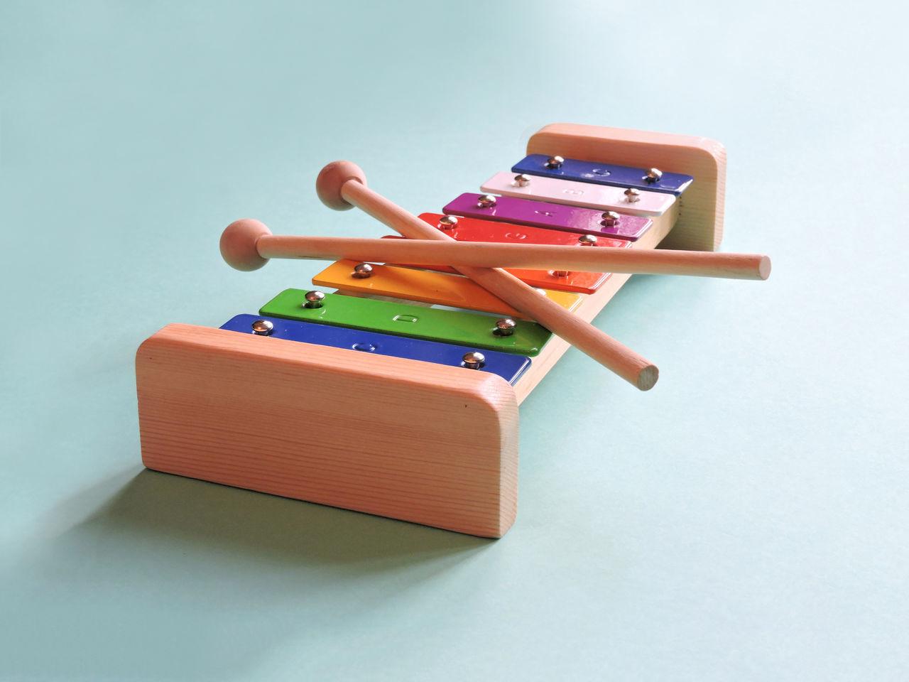 Blue Background Minimal Studio Toy Xylophone