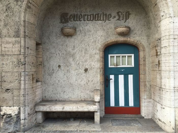 Arch Architecture Blue Green  Door Entrance Façade Fire Department Hannover Old Old Buildings Outdoors Turquoise Turquoise Door Hidden Gems