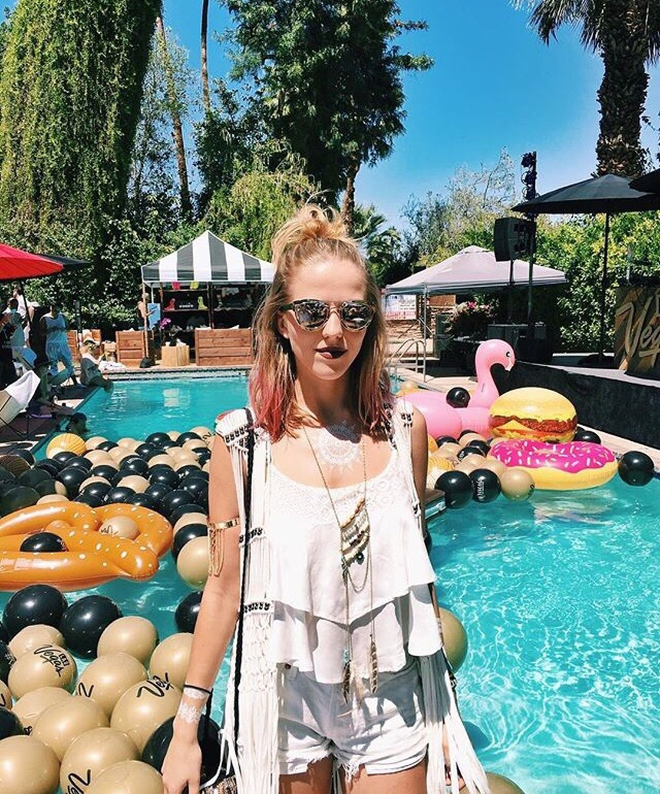 swimming pool, portrait, water, only women, long hair, summer, looking at camera, one woman only, sunlight, outdoors, day, adults only, blond hair, leisure activity, refreshment, relaxation, tree, sunglasses, happiness, young women, adult, one person, people, vacations, young adult, one young woman only