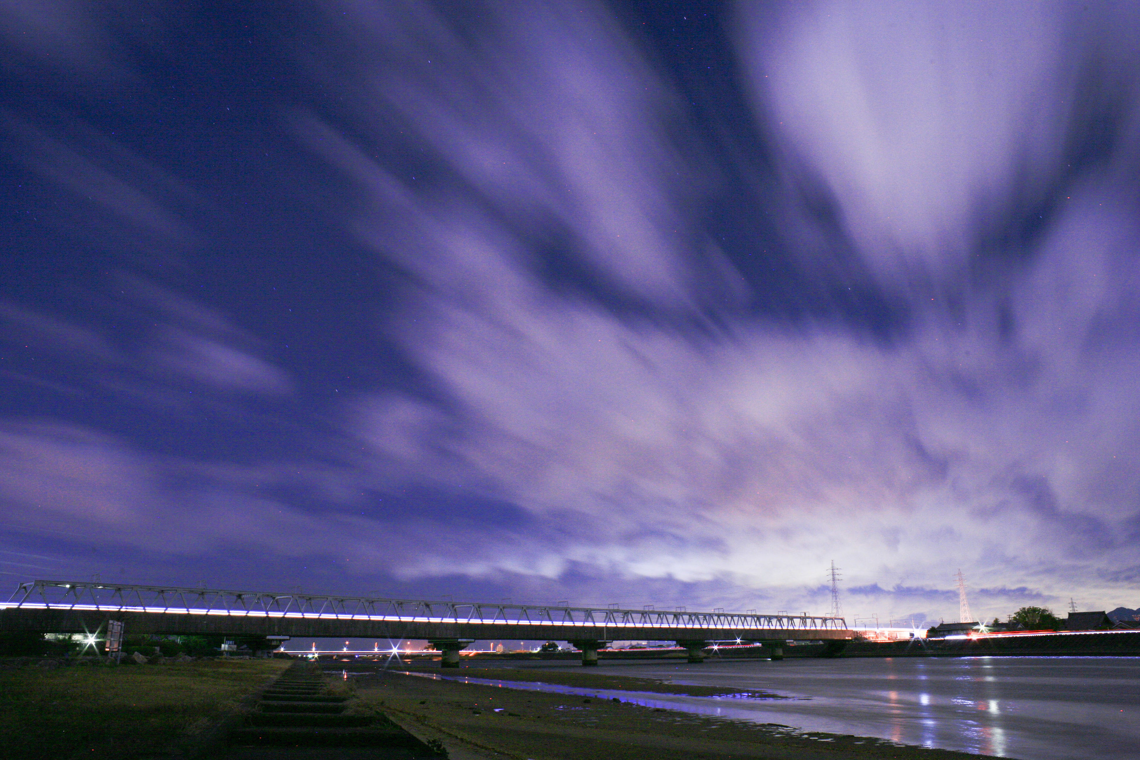 sky, illuminated, connection, night, water, bridge - man made structure, cloud - sky, built structure, transportation, architecture, river, dusk, cloudy, city, nature, bridge, outdoors, sea, long exposure, dramatic sky