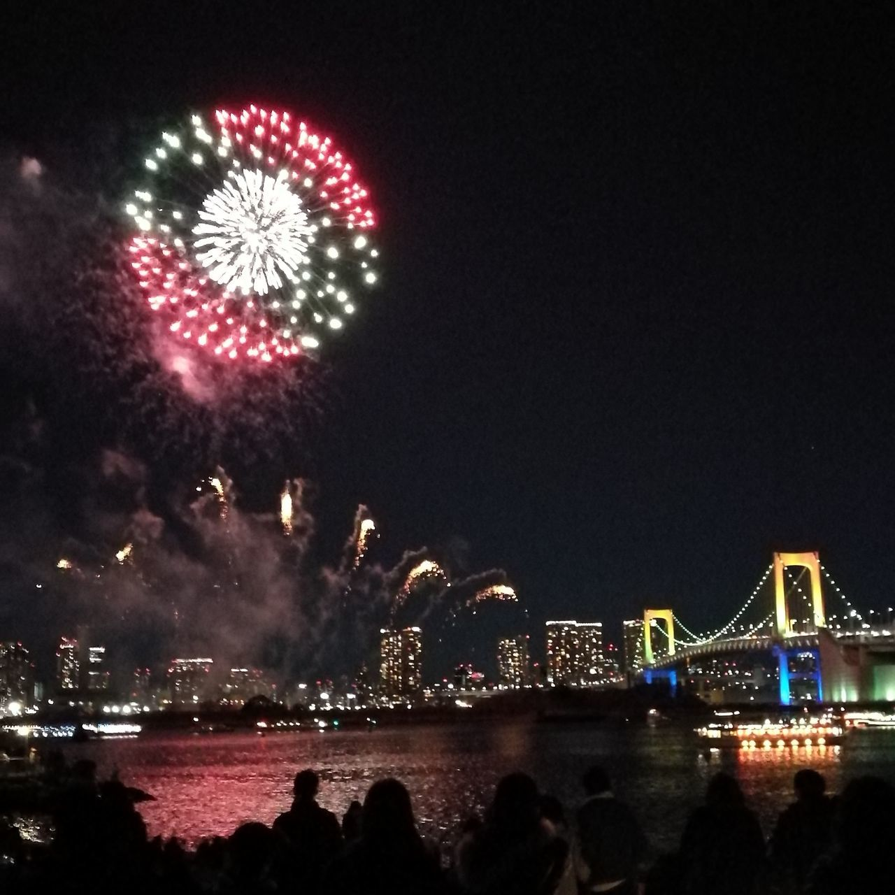Christmastime Firework Display Firework Outdoors Firework - Man Made Object Event Celebration Night Large Group Of People Sky Illuminated Japan Scenery Japan Japan Photos Night Lights Beach Sea