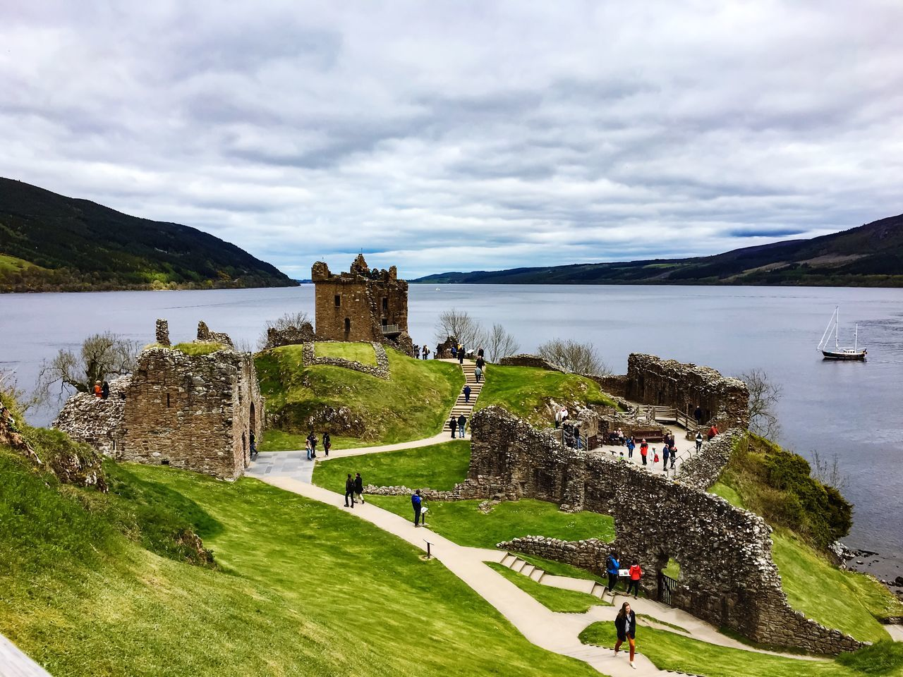 Sky, cloud,water, Architecture Ruined Building Ruined Castle UrquhartCastle Loch Ness Mountain Overcast Weather ❤ , Nature Tourism Tranquility Beauty In Nature Landscape_photography Travel Destinations Unrecognizable Person Outdoor Photography First Eyeem Photo EyeEm Best Shots