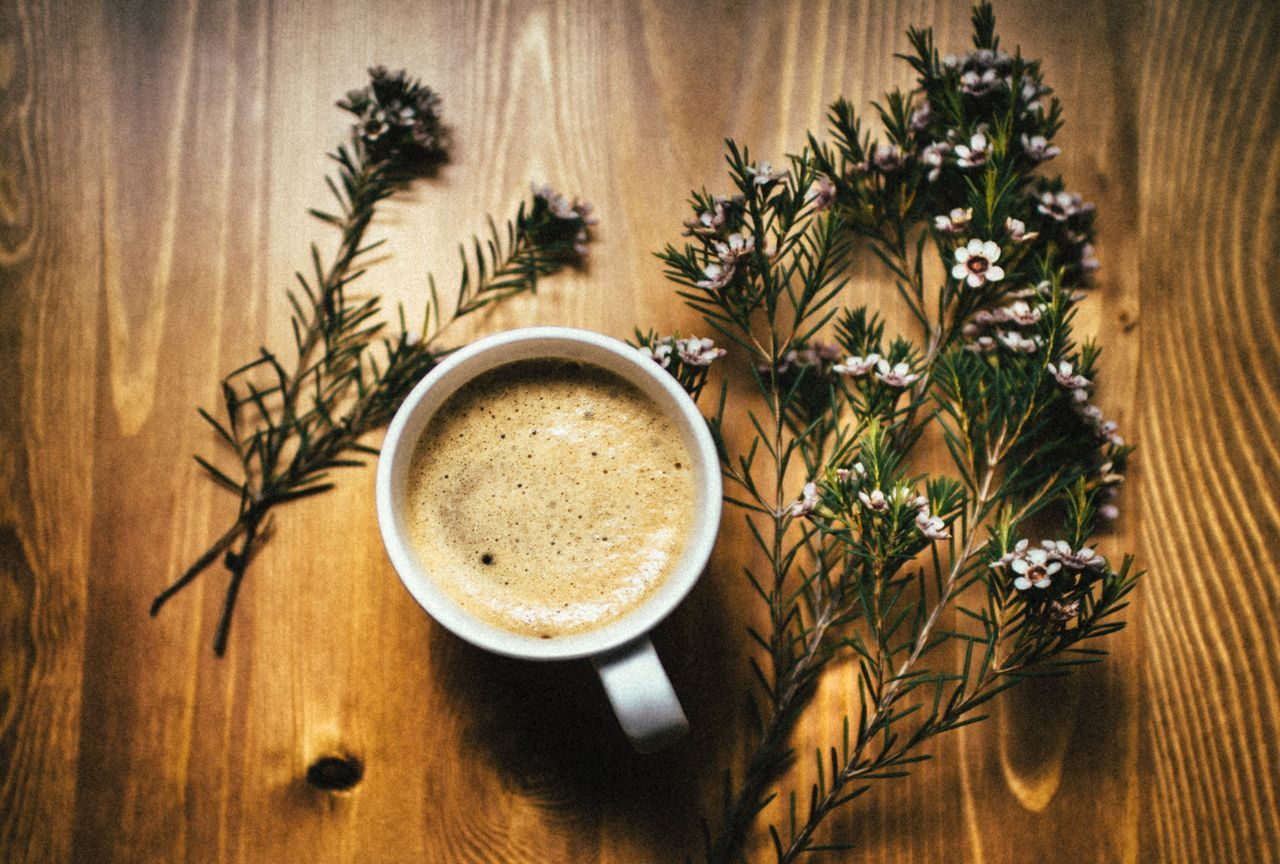 Coffee time Table Coffee Cup Indoors  Frothy Drink Latte Coffee - Drink Drink Refreshment Flower Food And Drink Vase Cappuccino High Angle View No People Freshness Close-up Froth Art Healthy Eating Day
