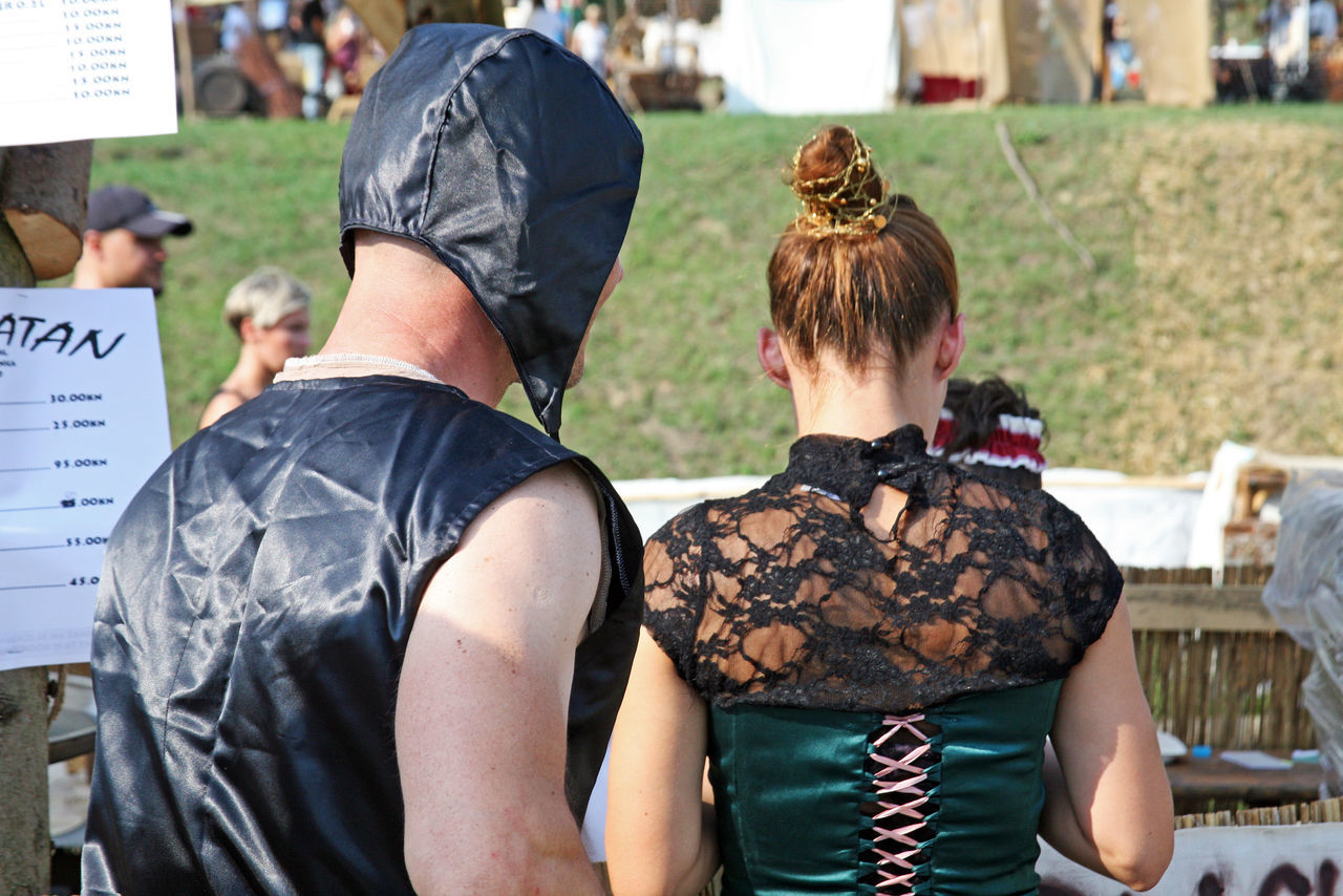 Renaissance Festival,Koprivnica,Croatia,Europe, 2016.,fancy pair by the bar Bar Costumes Croatia Day Drink Entertainment Eu Europe Fair Food History Koprivnica Medieval Outdoors Pair Renaissance Festival Show Summer Togetherness