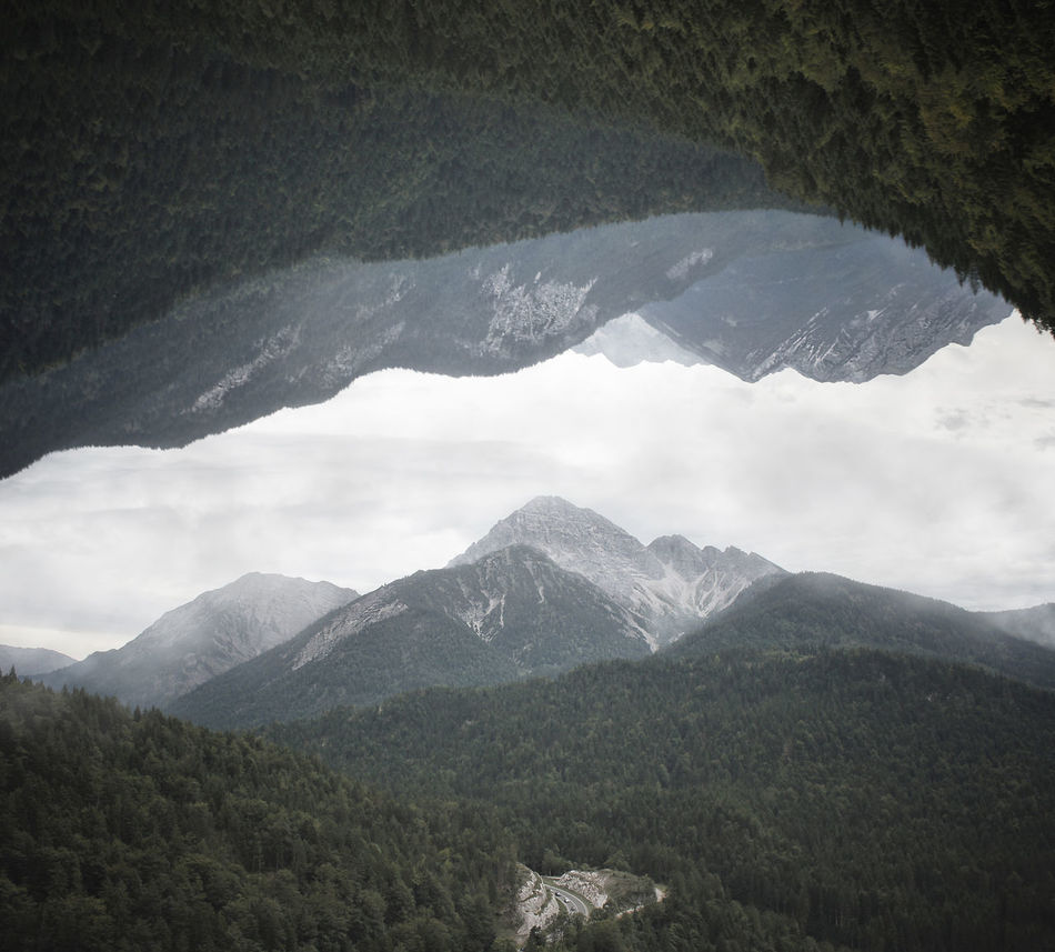 Adventure Beauty In Nature Clouds Clouds And Sky Fantasy Fold Forest High Hike Hiking Inception Landscape Mirror Mirrored Mountain Nature No People Outdoors Peak Rock Sky Street Tree Cut And Paste Break The Mold Art Is Everywhere TCPM