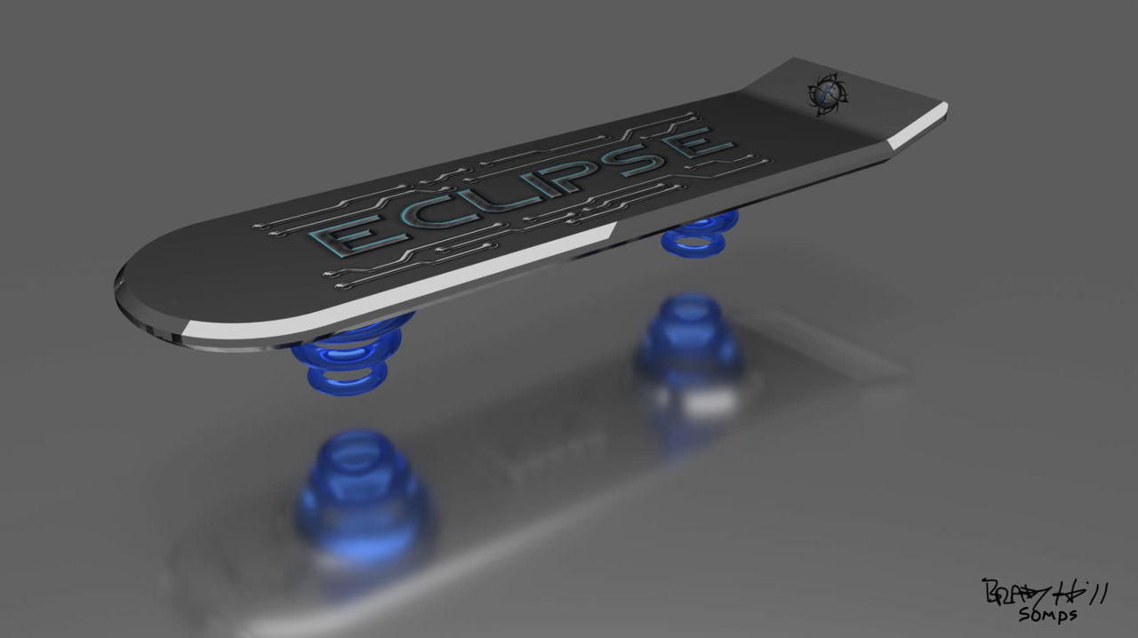 Made in Blender 3D for my sons futuristic project. The blue propulsion rings made this render in Blender 3D take hours. Added the logo and design art. 3D Art Blender Design Futuristic Hoverboard Aquatique Logo