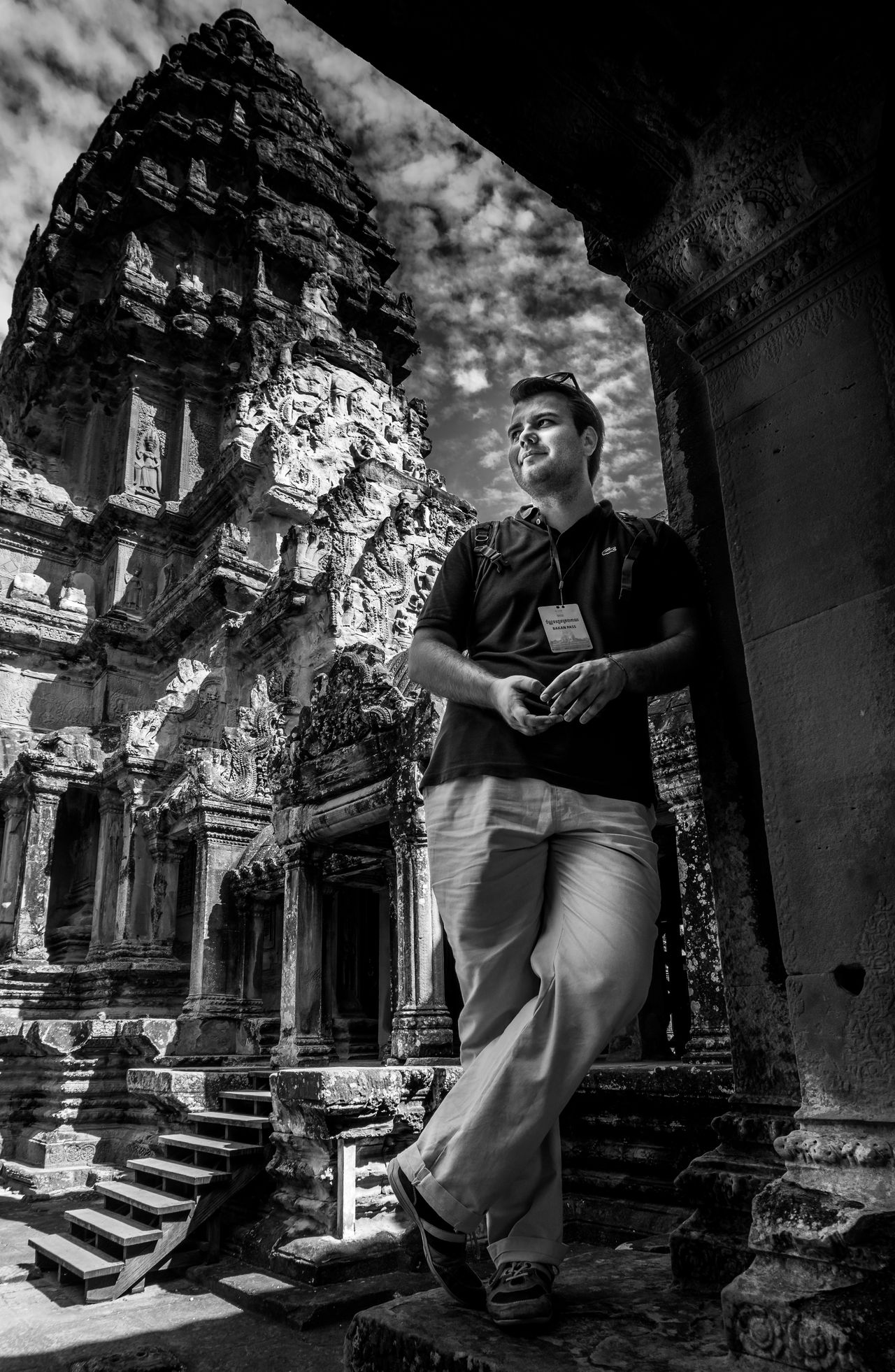 Feeling like the modern Indiana Jones (irony) Angkor Thom Angkor Wat B&w Black And White Buddhism Buddhist Temple Building Indiana Jones Man Man, Young, Male, Person, Adult, Color, Guy, Lifestyle, People, Caucasian, Retro, Effect, Vintage, Background, Casual, Leisure, Portrait, Glasses, Fashion, Texture, Outdoor, Happiness, Handsome, Summer, Shine, Illuminated, Bright, Glitter, Light, Glow, Sh Modern Person Temple Tourism Tourist Tourist Attraction  Tower Travel Visitor