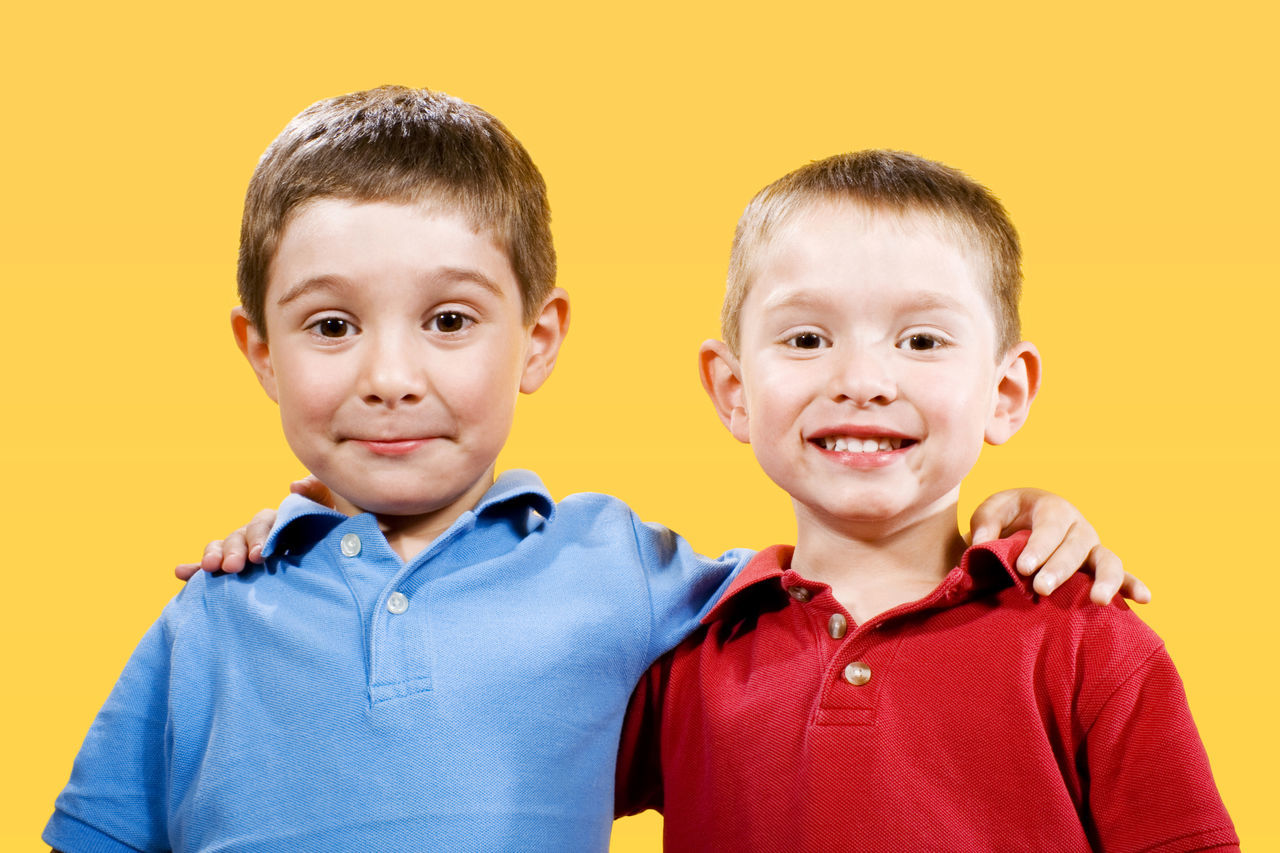 Two Kids Boys Brothers Casual Clothing Caucasian Child Childhood Children Only Friendship Happiness Kids Kids Being Kids Kindergarteners Looking At Camera Males  Portrait Real People Schoolchildren Siblings Smiling Two People