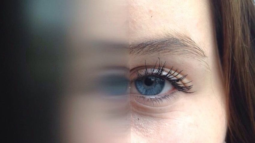 Mirror in darkness. Human Eye Close-up Eyelash Beauty One Person Young Adult Eyebrow Lifestyles Women Human Body Part Eyesight Real People Young Women Beautiful Woman Sensory Perception Indoors  People Adult Eyeball Day