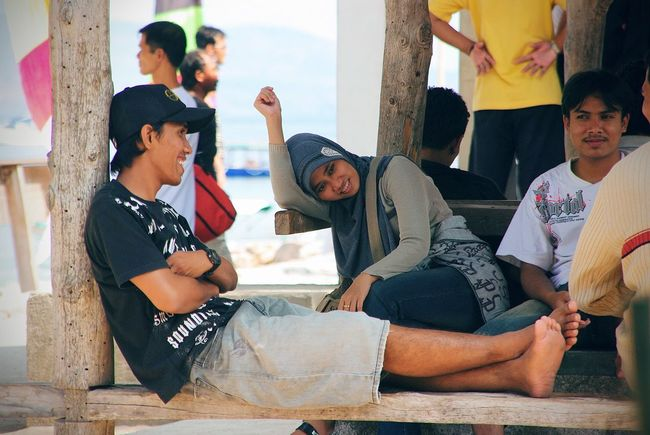 Gili's - Bali, Indonesia, 2009 Bonding Casual Clothing Day Friendship Front View Full Length Leisure Activity Lifestyles Looking Looking At Camera Love Person Sitting Togetherness Young Adult Young Women Amazing Indonesia Smiling Friendly Faces Waiting For A Boat