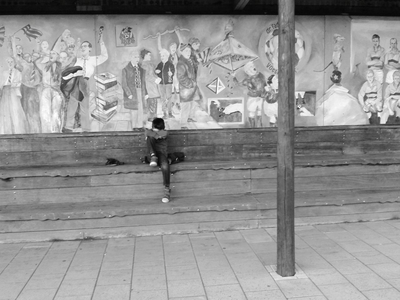 Full Length Real People Built Structure Outdoors One Person Eyemblackandwhite Black And White Photography Eyeemphotography EyeEm Gallery Graffiti Wall Playing Soccer Emotions Tired