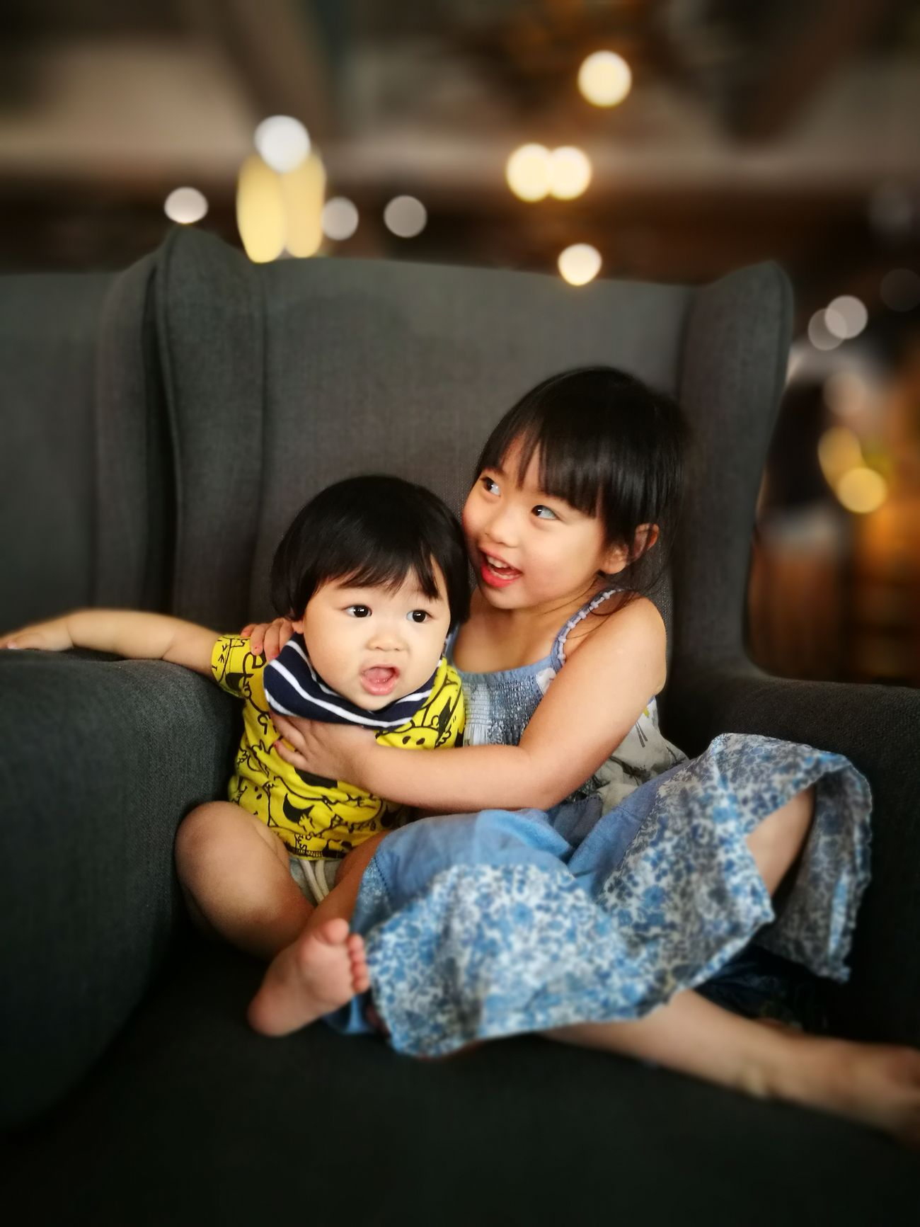 Child Females Males  Childhood Happiness Family Togetherness Boys Cheerful Offspring Lifestyles Sofa Smiling Two People Cute Bonding Son Indoors  siblings EyeEmNewHere