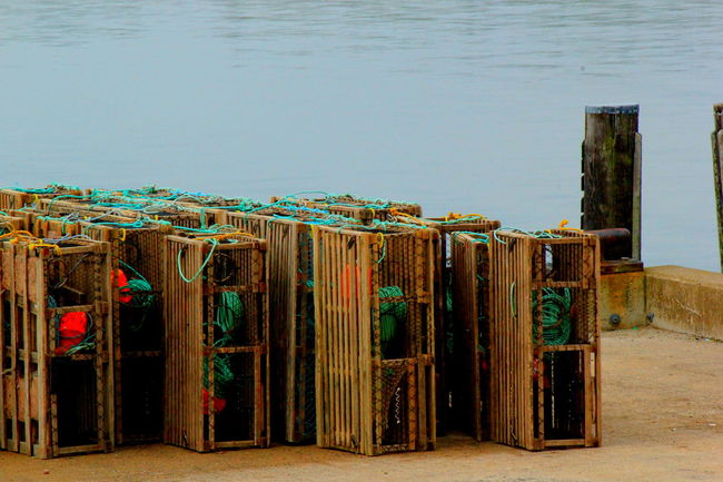 Lobster Traps Day Fishery  Fishing Lobster Lobster Traps Lunenburg, NS, Canada Multi Colored Nature No People Outdoors Side By Side Sky Small Town Spring Day Waterfront Wharf