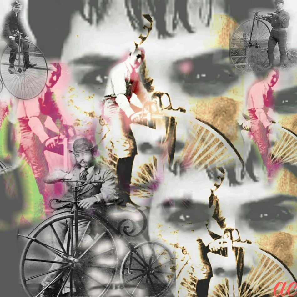 MAN WITH PENNY FARTHING Collageartwork Collageoftheday Multi Colored Collageart Surrealism
