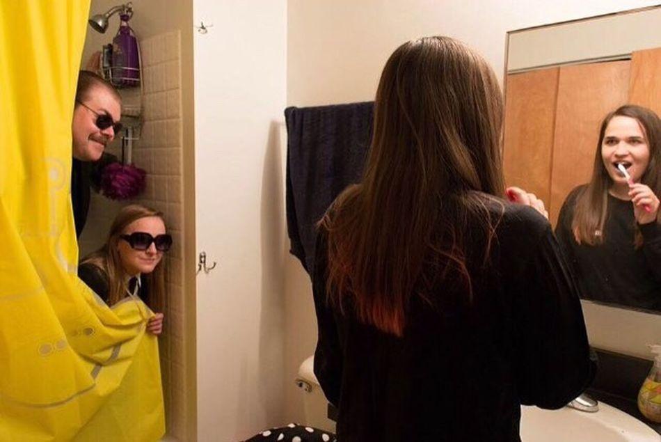 Spy Spying Bathroom Shower Brushing Teeth  Brushing My Teeth Woman Girl Secret Agent NSA