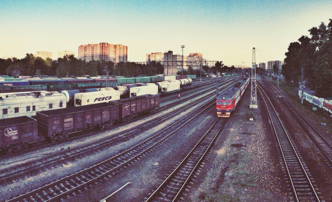 High Angle View Of Trains On Railroad Tracks