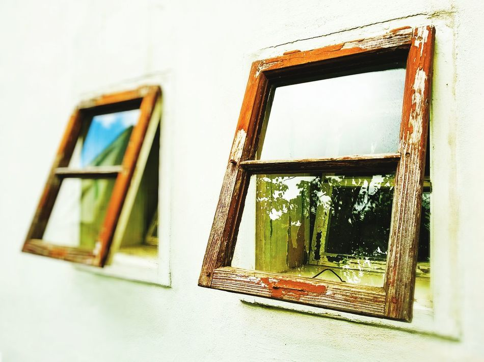 Windows Window Open Open Windows Mirroring In Glass Of A Window Old Vintage Architecture White Horizontal Horizontal Composition Opened Two Windows Reflections On Glass