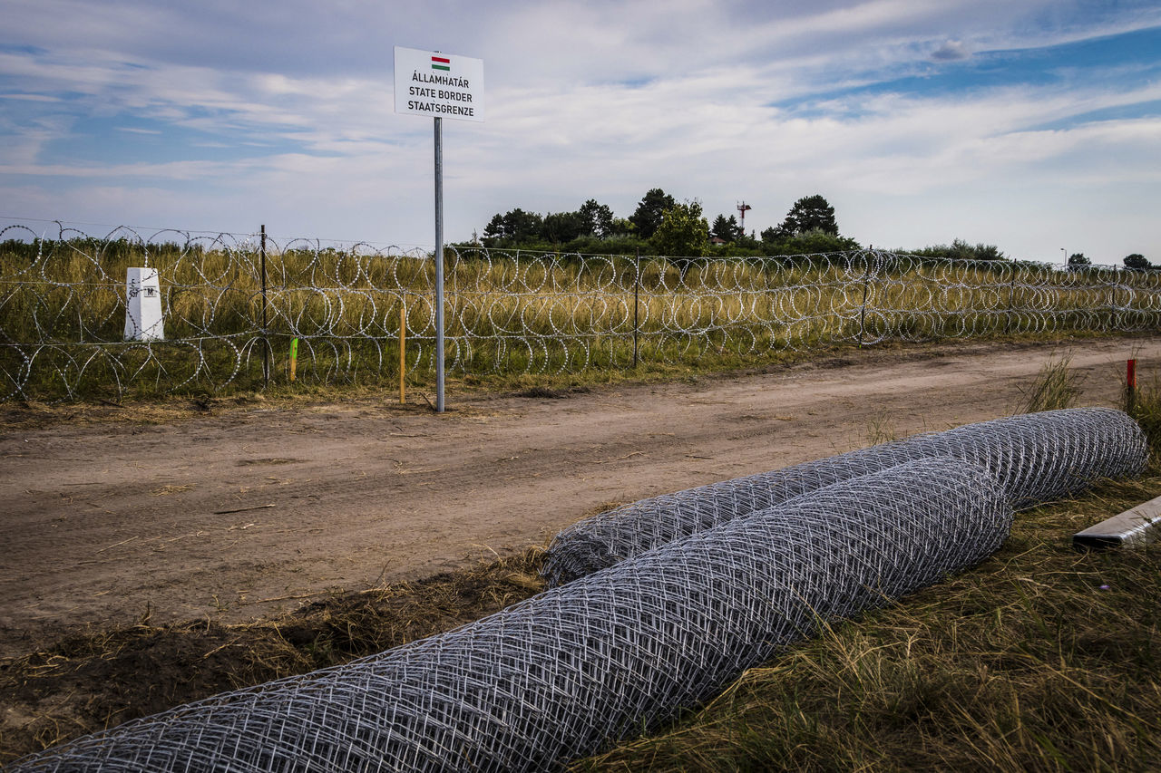 Firewall against illegal immigrants and refugees on the border between Hungary and Serbia Barbed Wire Barbed Wire Fence Border Borderline Cloud - Sky Fence Firewall Frontier Frontière State Border