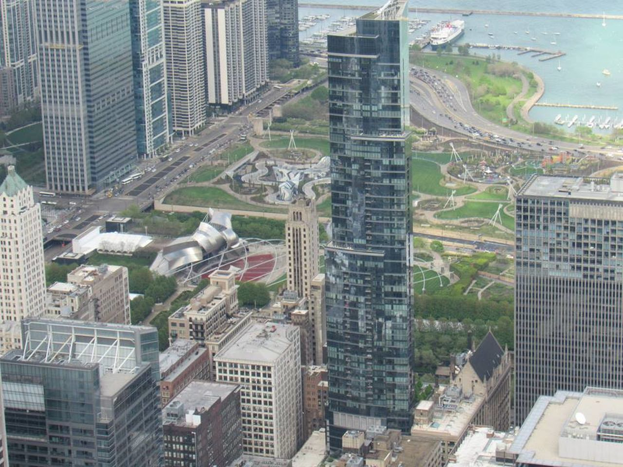 skyscraper, architecture, cityscape, city, aerial view, building exterior, built structure, high angle view, modern, no people, outdoors, day, tree, urban skyline