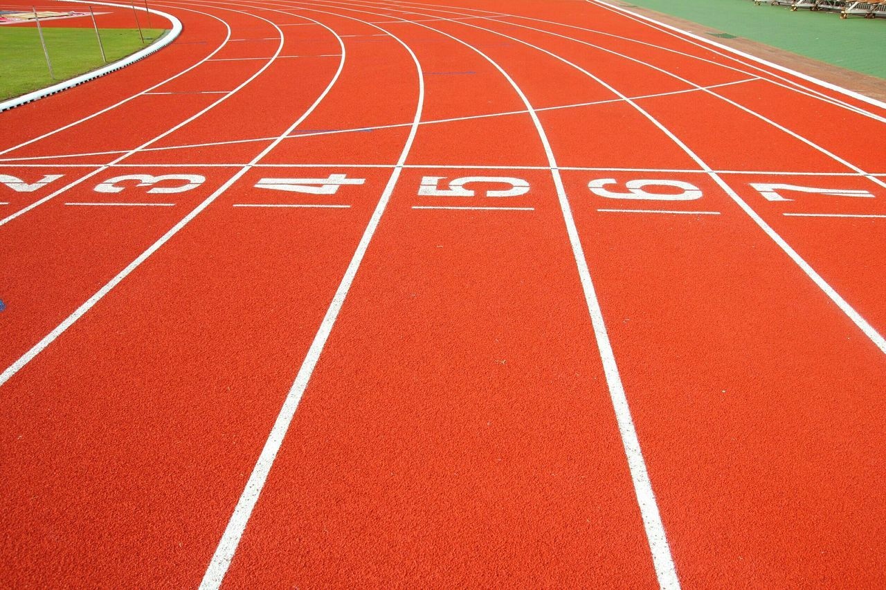 Running Track Sports Track Outdoors Track And Field Stadium Sprinting Sports Race Competition Finish Line  Starting Line Track And Field Event