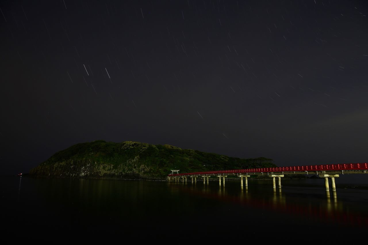 in the quiet time,I think... Night No People Nature Bridge - Man Made Structure Scenics Beauty In Nature Outdoors Illuminated Mountain Water Sky Star - Space Tree Architecture Astronomy Galaxy Long Exposure Island Sea