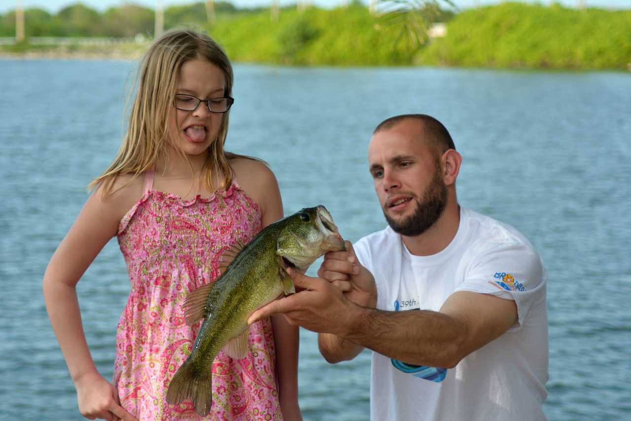 Bass Bonding Casual Clothing Childhood Family Father And Daughter Fatherhood  Fatherhood Moments Fatherhood Moments By September 8 2016 Fatherhood4life Fish Fishing Lake Largemouthbass Leisure Activity Lifestyles Togetherness Vacations Water Weekend Activities
