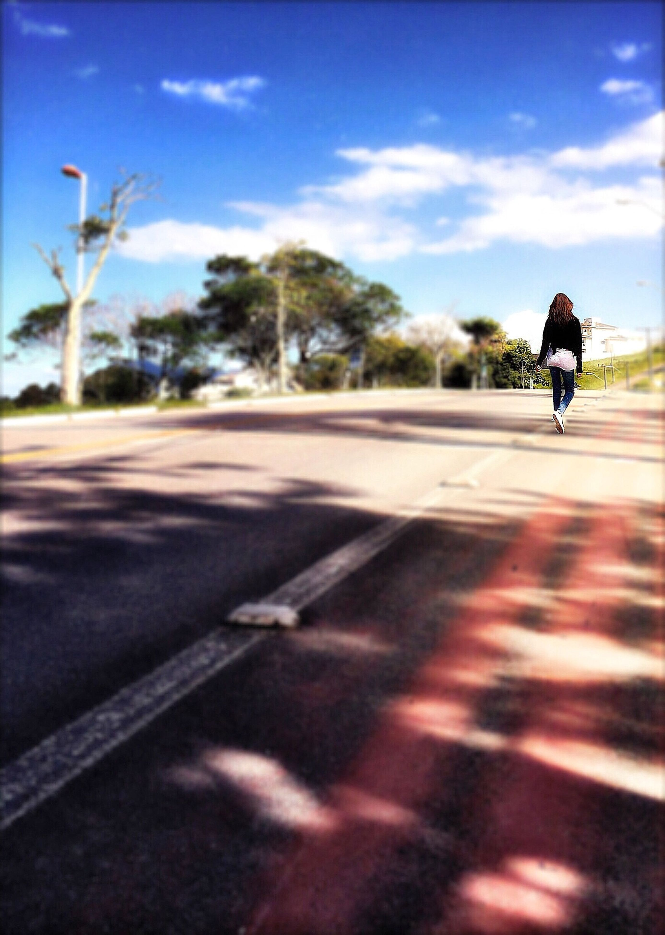 transportation, road, land vehicle, mode of transport, sky, car, street, road marking, the way forward, on the move, riding, bicycle, sunlight, cloud - sky, travel, cycling, asphalt, cloud