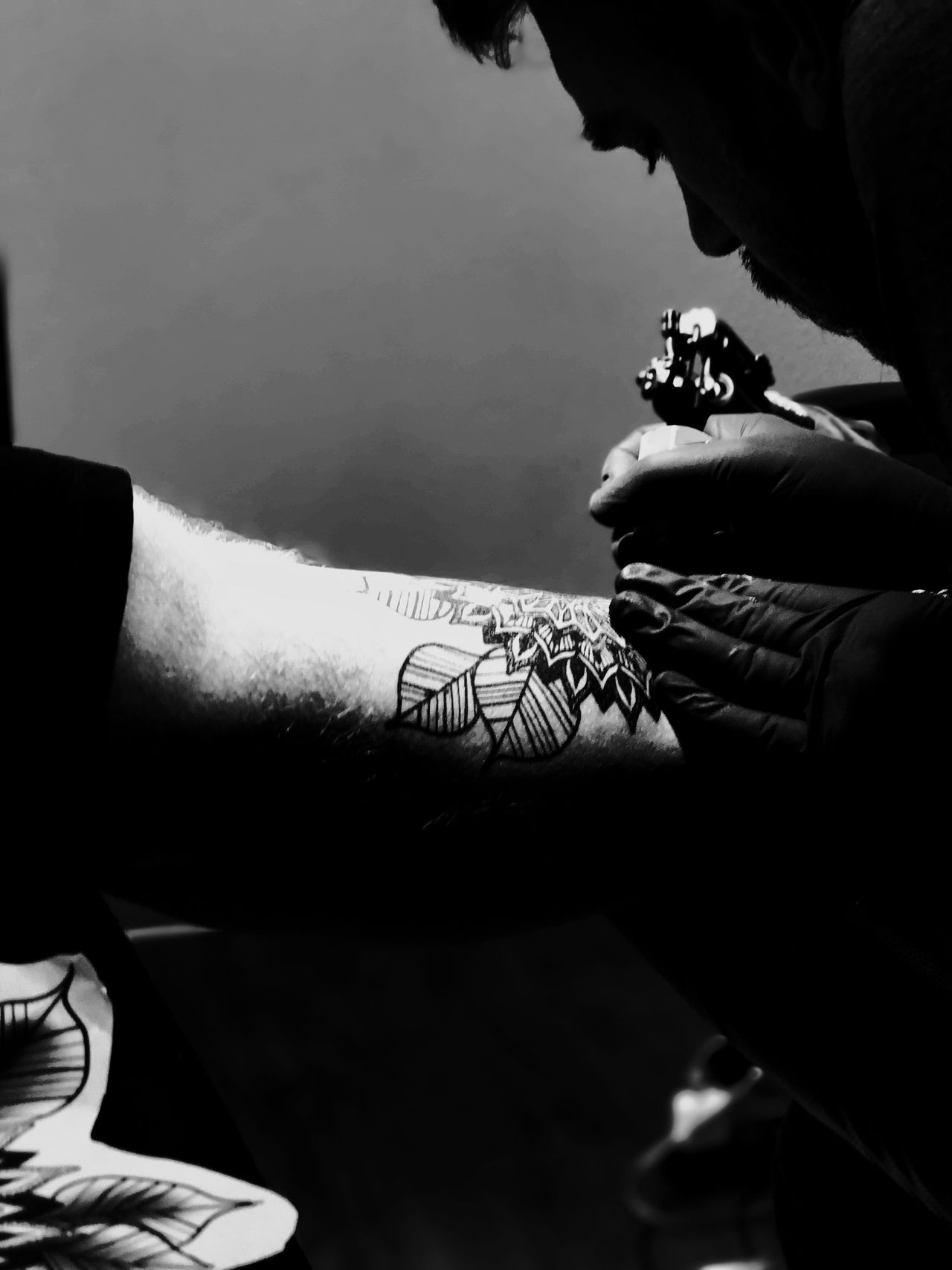 Real People Lifestyles Close-up Blackandwhite Photography Tattoo Life Tattoo Shop